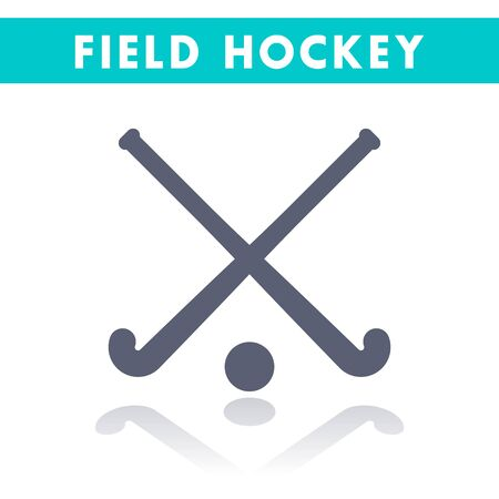 Field Hockey icon isolated on white, vector illustration