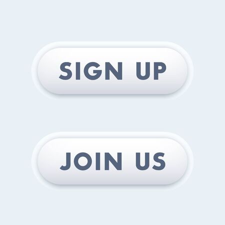 join us: sign up, join us buttons for websites, vector illustration