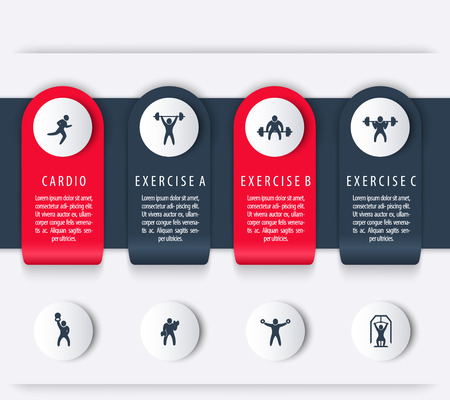 cross bar: Gym training, workout, 4 steps, infographics elements, with fitness icons