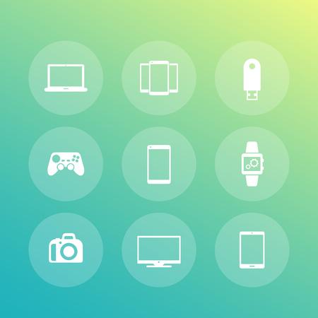 dslr: Gadgets icons (laptop, tablet, tv, smart watch, dslr) Illustration