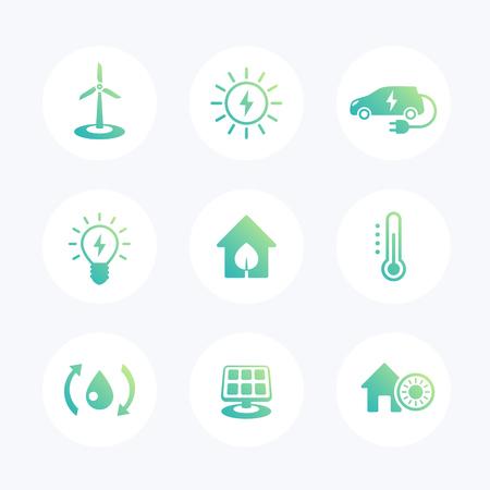 wind power: Green ecologic house, ecofriendly, energy saving technologies modern icons set