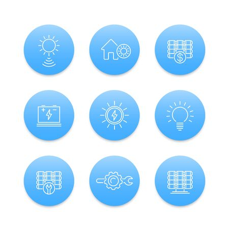 energetics: Solar energy, power, energetics, solar panels installation, blue round line icons Illustration