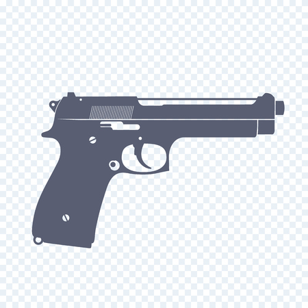 handgun: pistol, modern semi-automatic handgun, isolated gun