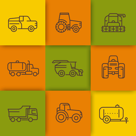 agricultural: Agricultural machinery line icons, combine harvester, agricultural vehicles, grain harvesting machine, truck, pickup, vector illustration