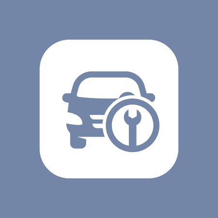 refit: Car service icon on white, vector illustration Illustration