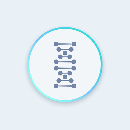deoxyribonucleic: dna chain icon, gene research, genetics, vector illustration