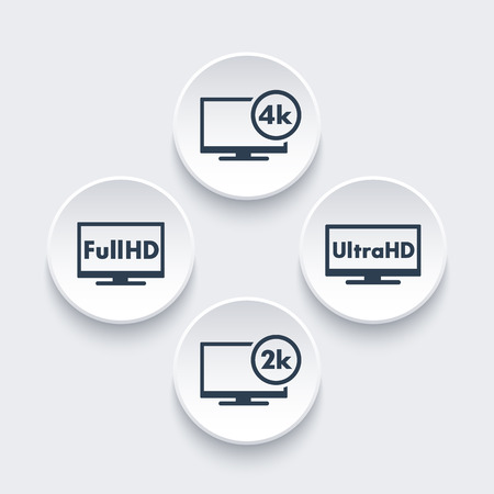 High Definition icons set, Full HD, Ultra HD, 2k, 4k video, vector illustration
