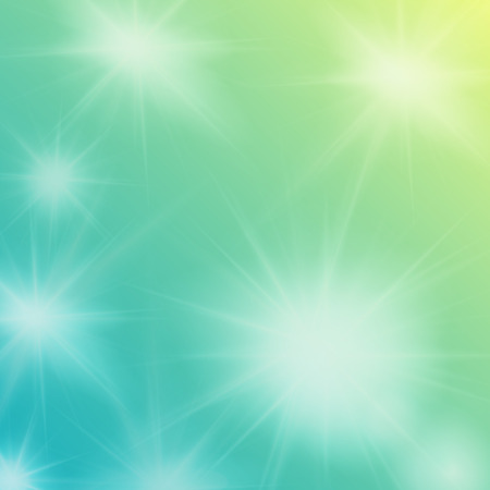 sun flares: Abstract green background with sun flares, beams, editable elements under clipping mask