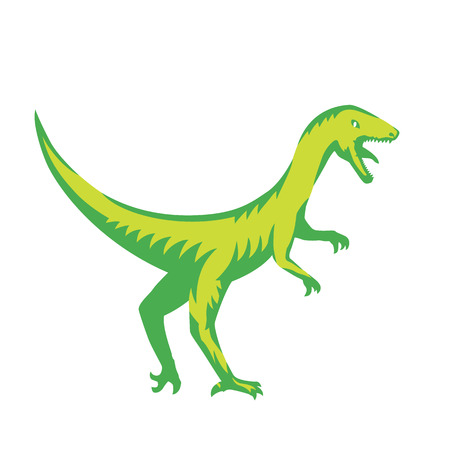 raptorial: Velociraptor, predaceous dinosaur on white
