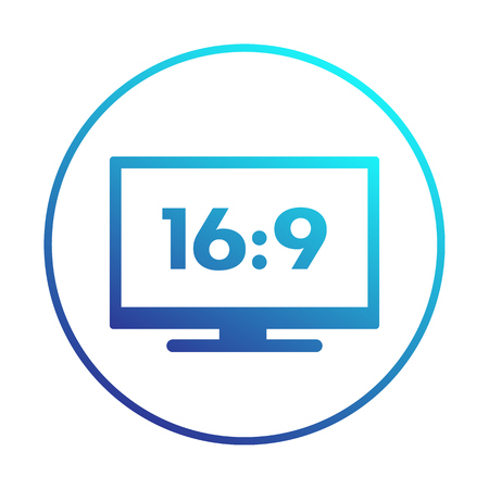 aspect: widescreen tv icon in circle, aspect ratio 16:9, vector illustration