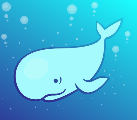 cachalot: whale, cartoon cachalot in the sea, vector illustration Illustration