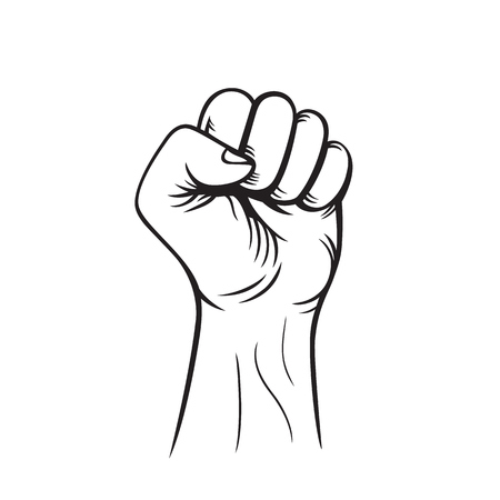 protest sign: fist held high, outline, protest sign isolated on white, vector illustration
