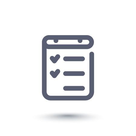 tasks: checklist line icon, completed tasks, results Illustration