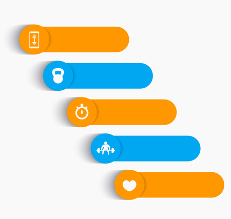 snatch: labels with fitness icons, editable elements, orange and blue