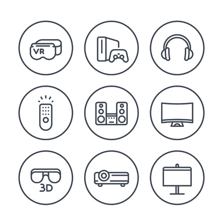 home entertainment: home entertainment system line icons in circles, multimedia devices, 3d tv, audio, virtual reality glasses, video game console