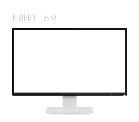 monitor mockup on white, modern realistic computer display with wide blank screen and thin frames, vector illustration Illustration