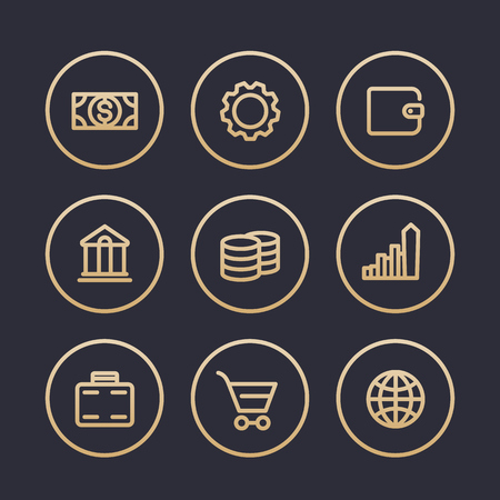 fee: Finance icons, fee, reward, savings, wallet, banking, thick line pictograms, gold on dark, vector illustration