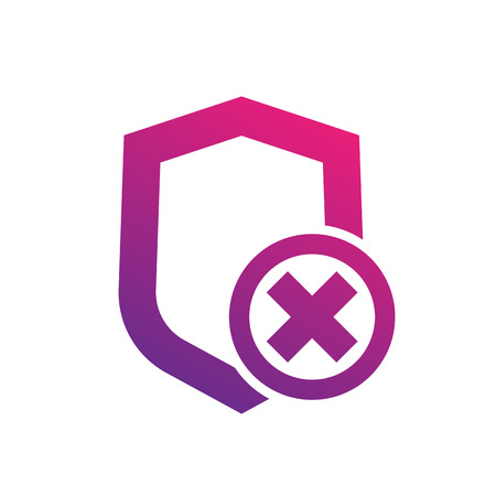 Shield icon on white, insecure, unprotected, security removed, vector illustration