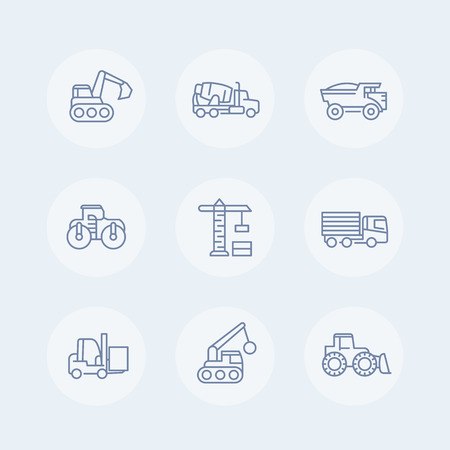 heavy set: construction vehicles line icons set, heavy machines, engineering equipment, crane, trucks, excavator, loader Illustration
