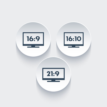 Aspect ratio icons, widescreen tv, 16:9, 16:10, 21:9 monitors