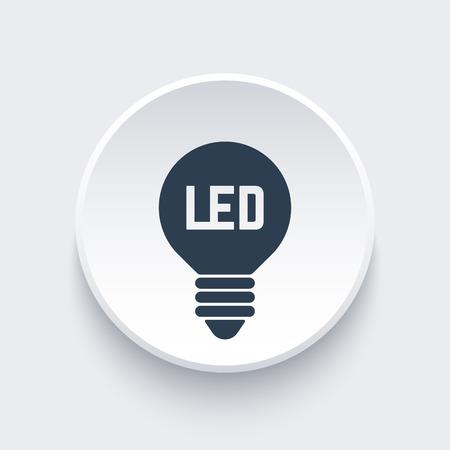 led light bulb: led light bulb icon on round 3d shape Illustration