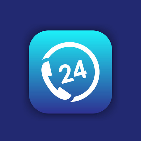 phone button: 24 hour service icon, button, phone, call us, support, vector illustration