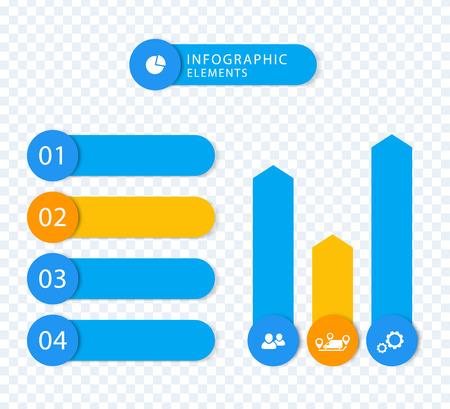 3 4: Modern Business infographic elements, step labels, 1 2 3 4, charts, blue, orange