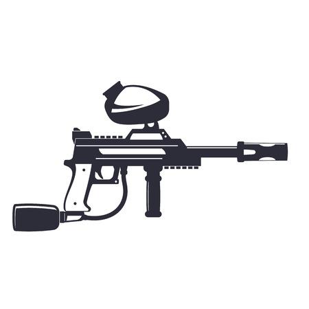 gun control: paintball gun isolated on white, vector illustration