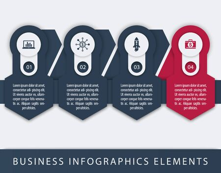 3 4: Business, finance infographics elements, 1, 2, 3, 4, steps, timeline, blue and red template