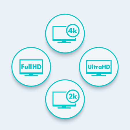fullhd: High Definition round icons, Full HD, Ultra HD, 2k, 4k content, vector illustration