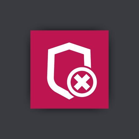 unprotected: Shield flat icon