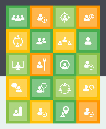 labor market: Human resources icons, HR, personnel management, material style