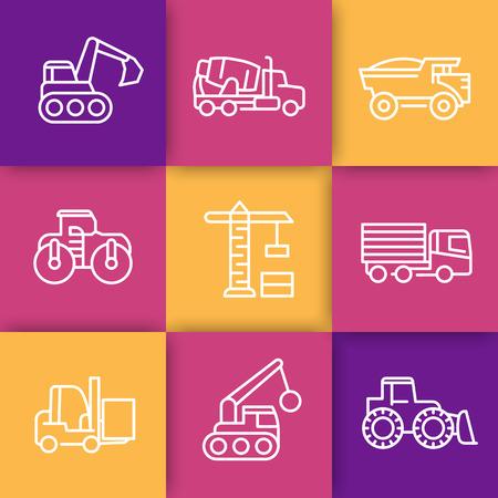 heavy construction: construction vehicles line icons, heavy machines, engineering equipment, crane, trucks, excavator, loader