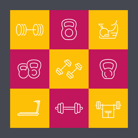 gym equipment: Gym equipment line icons set, fitness, training, workout