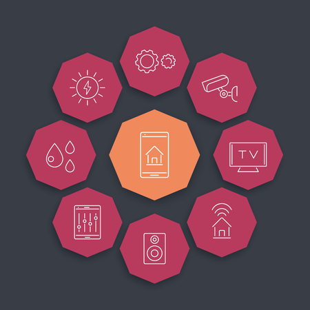 Smart House line icons on geometric octagon shapes, vector illustration 矢量图片