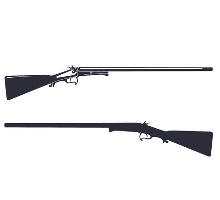 hunting rifle: Vintage hunting rifle, isolated on white