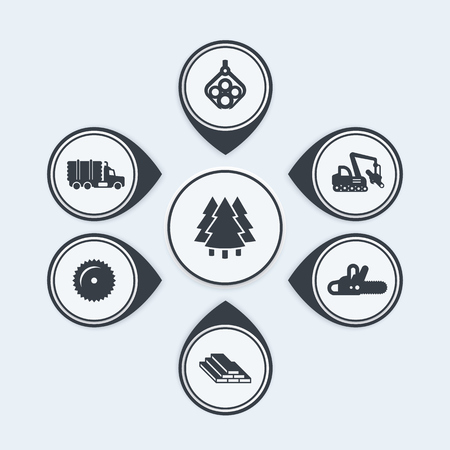 forwarder: Logging icons, tree harvester, tracked feller buncher, wood, lumber, timber infographic elements, vector illustration