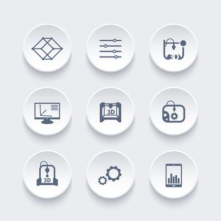 additive manufacturing: 3d printer, printing icons set, modeling, designing, additive manufacturing, vector illustration