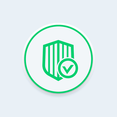 protected: Shield with check mark icon, secure, protected, security, vector illustration Illustration