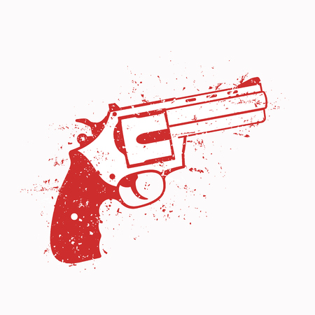 revolver with grunge, red on white, vector illustration