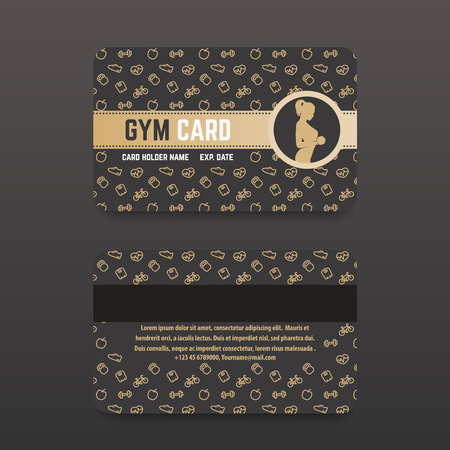 Fitness Club, Gym Card Design, Gold On Dark Royalty Free Cliparts ...