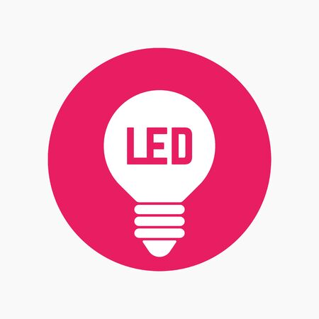 led light: led light bulb icon, lamp round sign Illustration