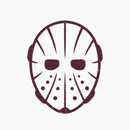 Hockey mask on white, grunge texture can be removed