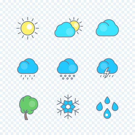 hail: Weather line icons with color filling, rain, snowflake, hail, wind, sun, snow, clouds, isolated pictograms for forecast