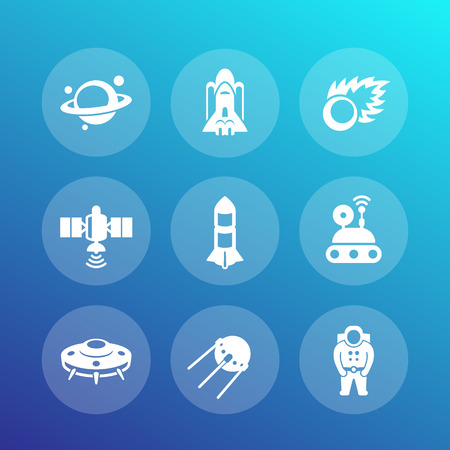 spaceflight: Space icons set, satellite, astronaut, space probe, shuttle, spaceship, rocket, meteor, asteroid, planet, ufo, vector illustration Illustration