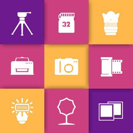 photo printer: photo equipment icons, camera, tripod, memory card, film, lens, softbox, printer, flash Illustration