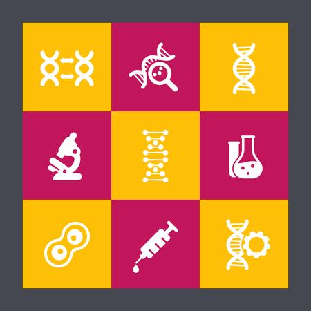 genetic material: genetics flat icons