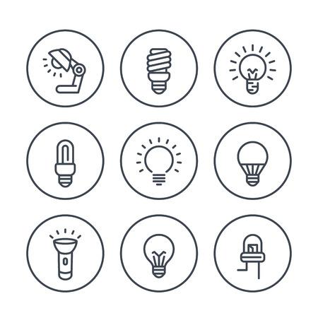 halogen: light bulbs line icons in circles, LED, CFL, fluorescent, halogen, lamp, flashlight Illustration