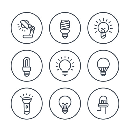 light bulbs line icons in circles, LED, CFL, fluorescent, halogen, lamp, flashlight Vettoriali
