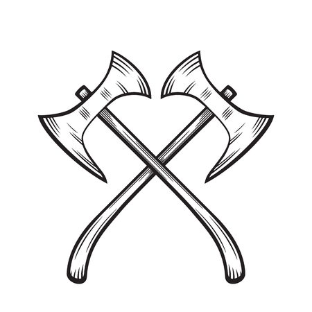 halberd: crossed axes, medieval weapons on white, vector illustration